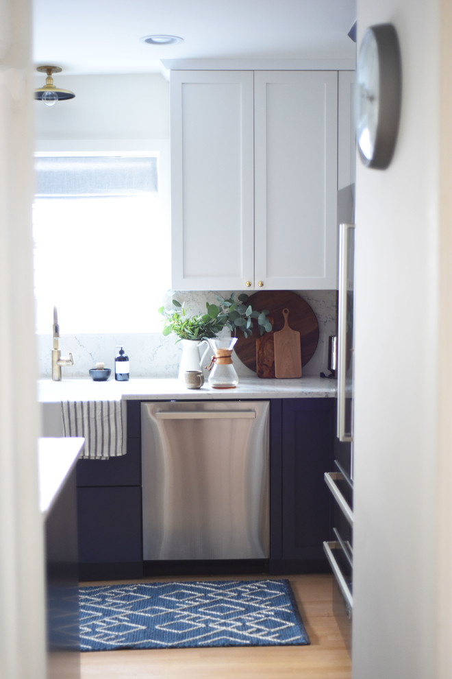 Transitional Kitchen with White and Blue Shaker Cabinets ...