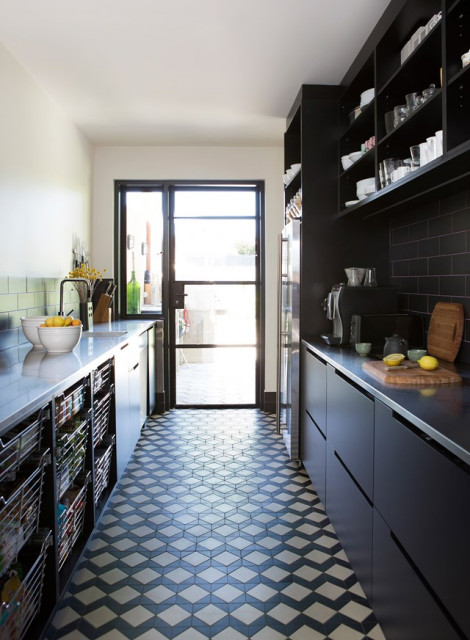 Contemporary Kitchen Tile Floor In Neutral Colors