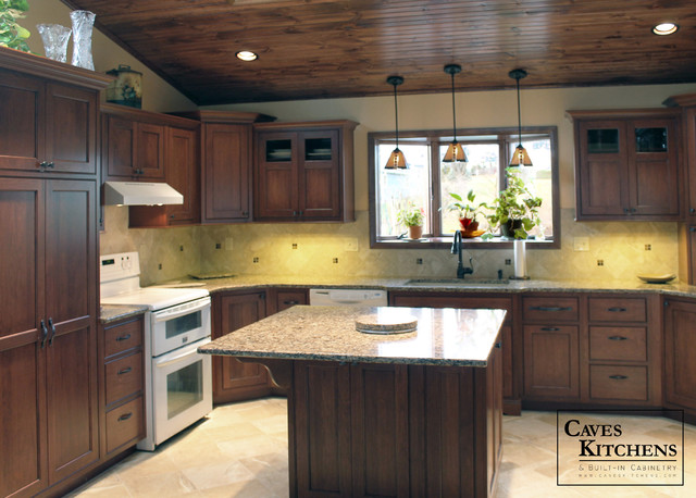 Transitional Kitchen With Wood Ceiling Desk Area