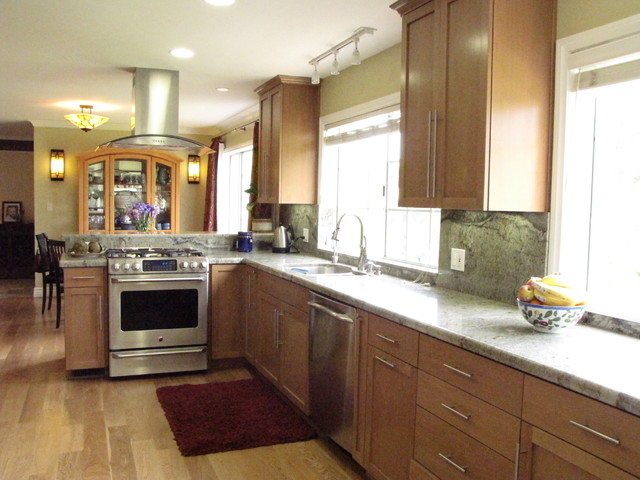Transitional kitchen with wood floors and birch cabinets for Birch wood kitchen cabinets