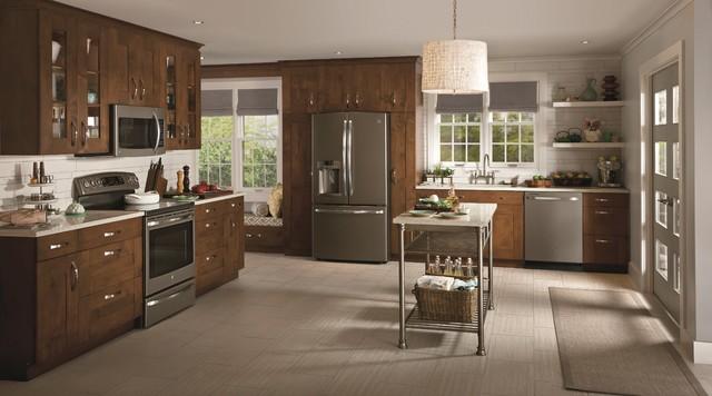GE Slate Appliances transitional-kitchen