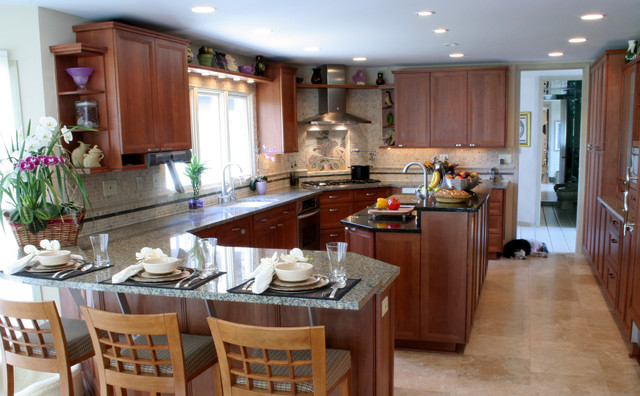Transitional kosher kitchen with island and peninsula - Island or peninsula kitchen ...
