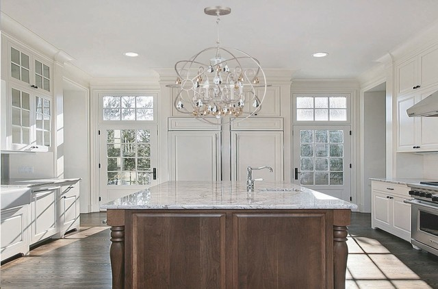 transitional kitchen lighting. Example Of A Transitional Kitchen Design In Chicago Lighting K