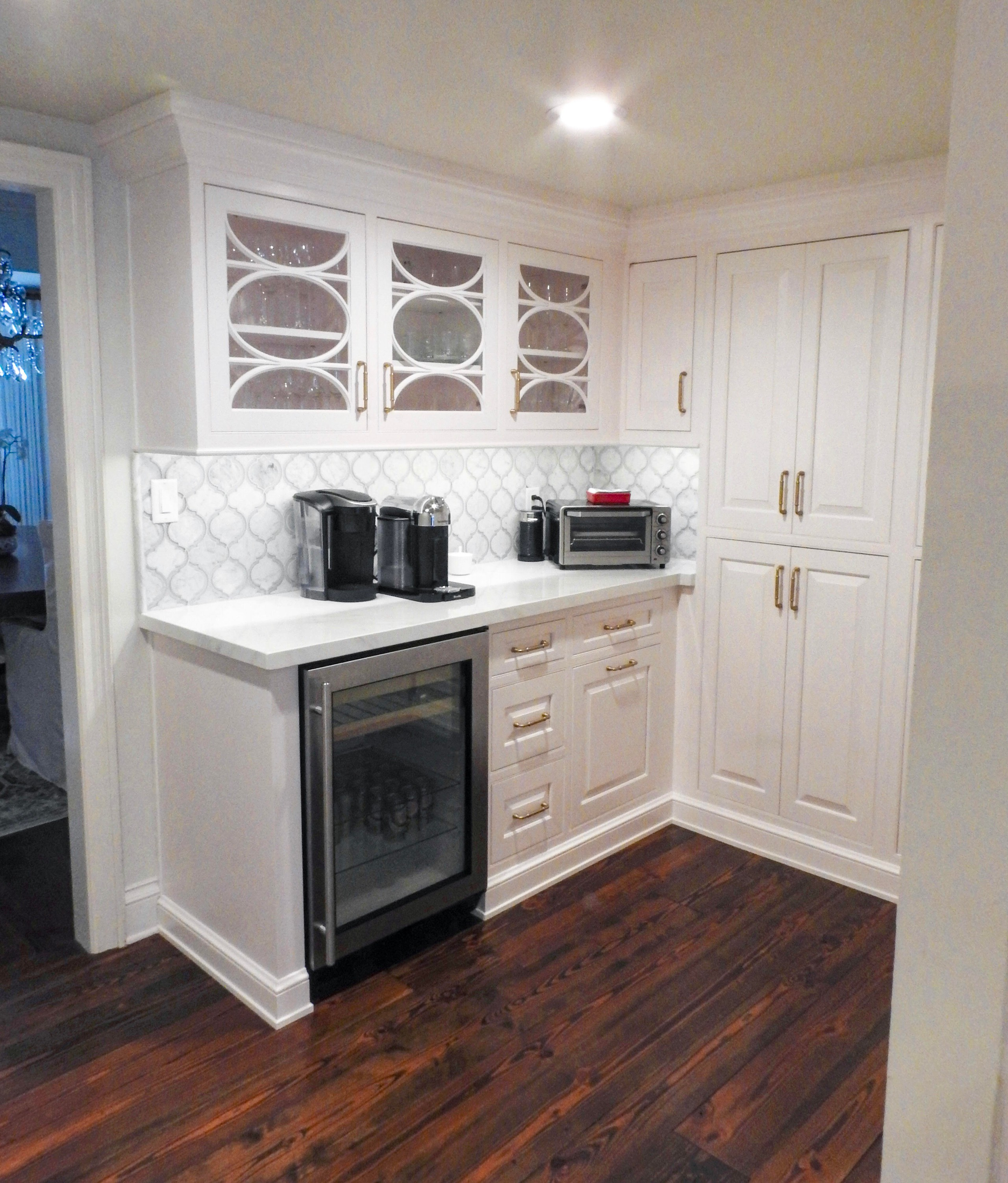 Custom Coffee Bar white cabinetry by Amoroso Cabinets