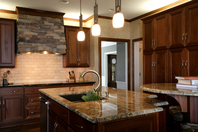 Transitional Mahogany traditional kitchen