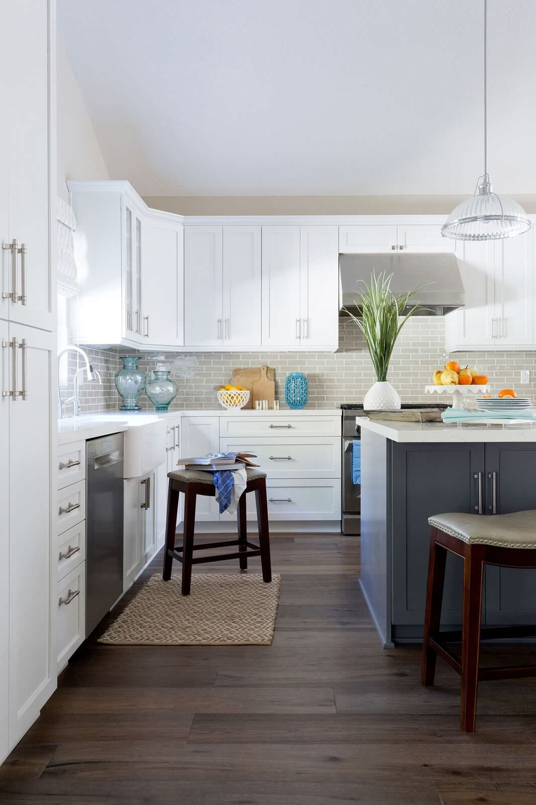 Transitional Open Concept Kitchen and Family Room