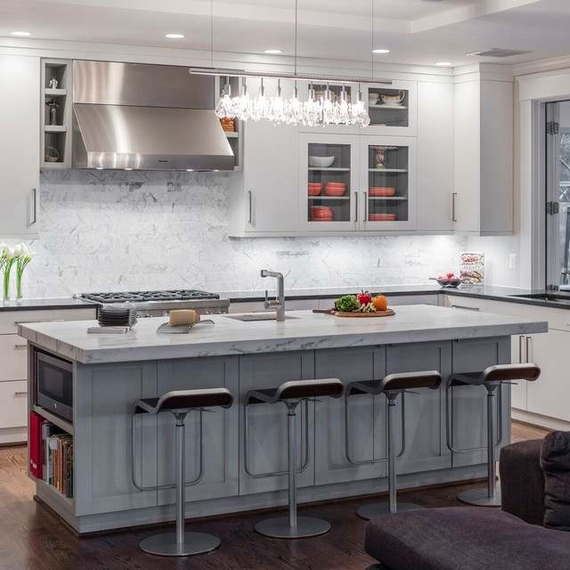 Transitional Open Concept Kitchen