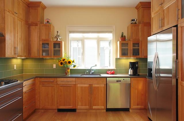 Transitional Red Birch Kitchen