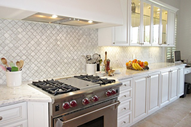Elegant Transitional   White Carrera Marble Arabesque Backsplash, Stainless Range  Transitional Kitchen