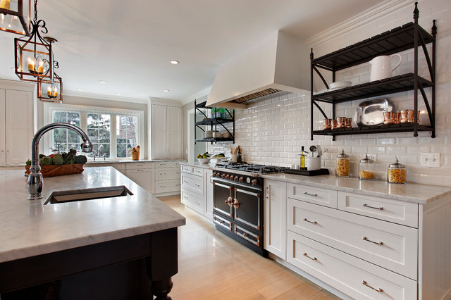 Transitional White Kitchen Addition with Iron Shelves - Transitional ...