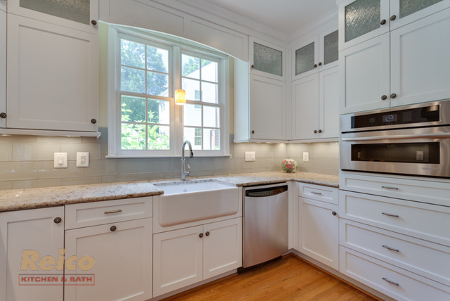 Transitional white kitchen remodel gaithersburg md for Kitchen renovations with white cabinets