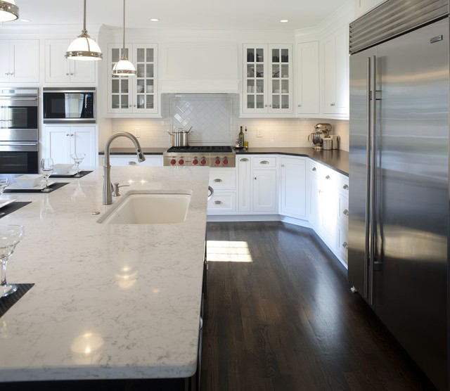Transitional White Kitchen W/ Black Island
