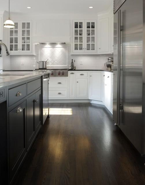 Transitional White Kitchen w/ Black Island - Transitional ...