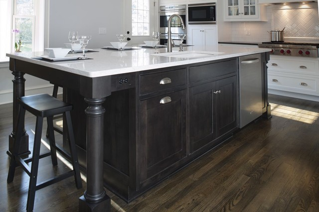 Transitional White Kitchen w/ Black Island - Transitional ...