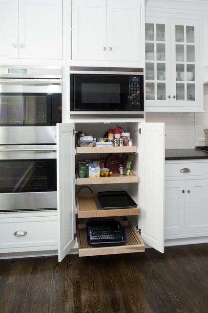 Transitional White Kitchen w/ Black Island transitional-kitchen