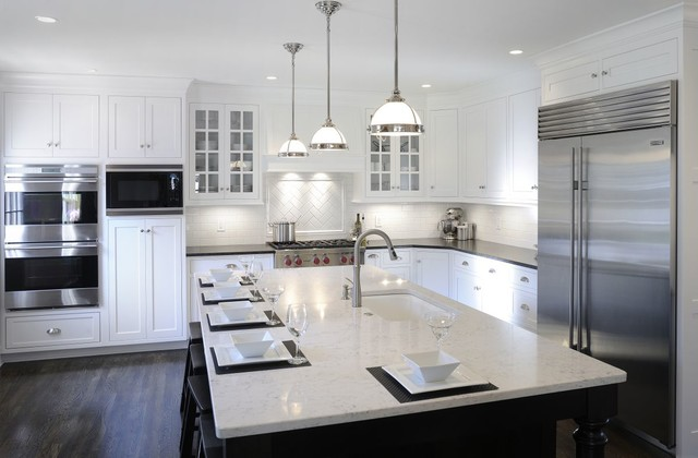 Transitional white kitchen w black island transitional kitchen cleveland by mullet cabinet - White kitchen with dark island ...