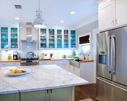 Transitional White Kitchen with Apron Sink