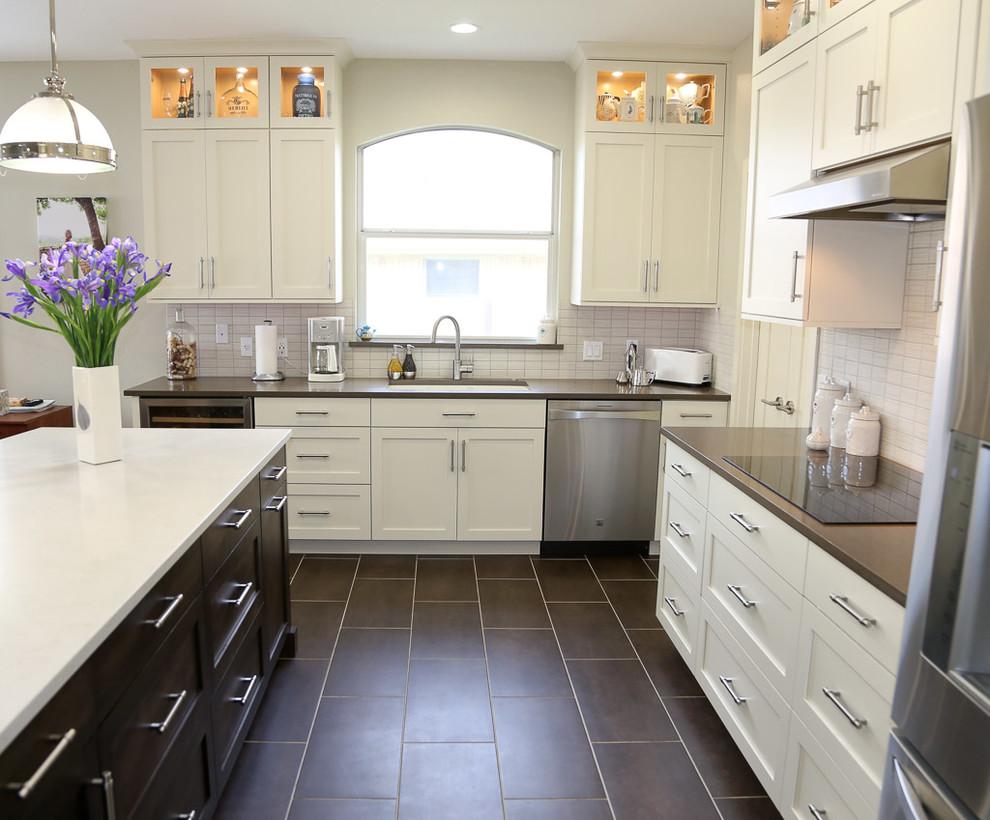 Transitional White Kitchen with Espresso Island ...