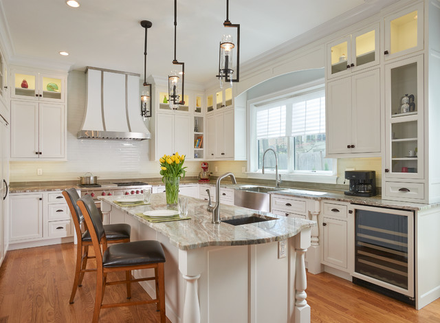 Transitional White painted inset Kitchen in Brookline traditional-kitchen