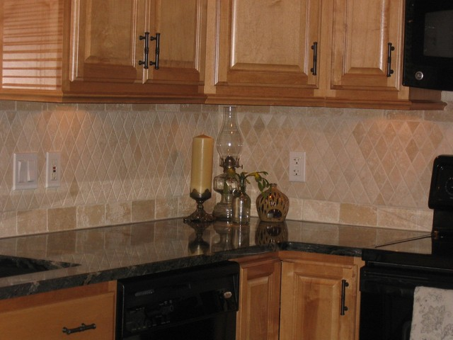 Kitchen Backsplash Design Ideas Travertine ~ Travertine backsplash traditional kitchen