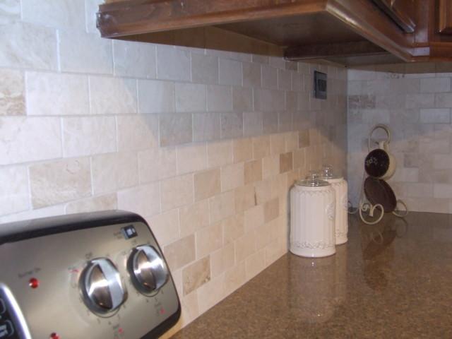 Travertine Backsplash traditional-kitchen