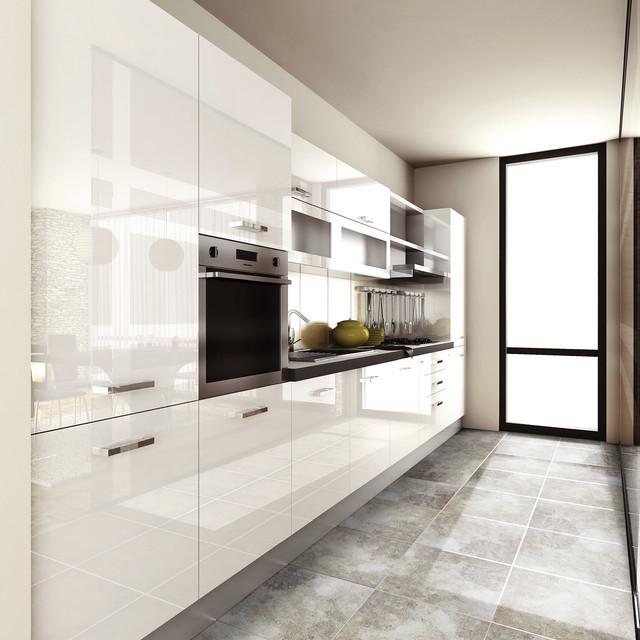 Travertine effect porcelain contemporary kitchen for Boro kitchen cabinets inc