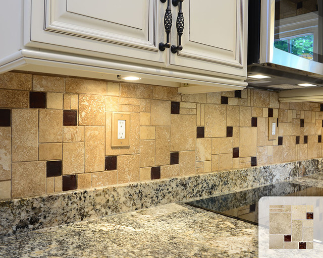 Travertine Honed Tile Brown Glass Mosaic Kitchen