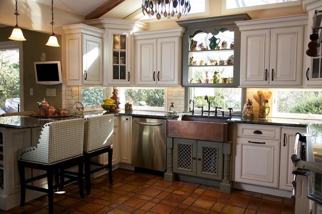 tri color kitchen - rustic - kitchen - huntington -merri