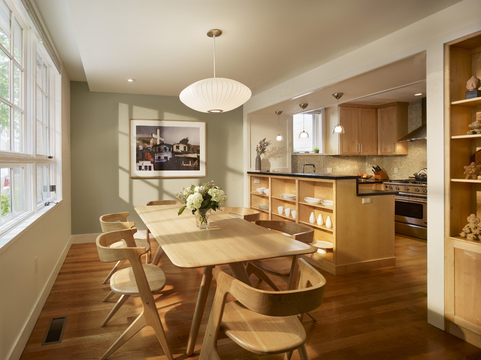 Trendy eat-in kitchen photo in Philadelphia with open cabinets and medium tone wood cabinets