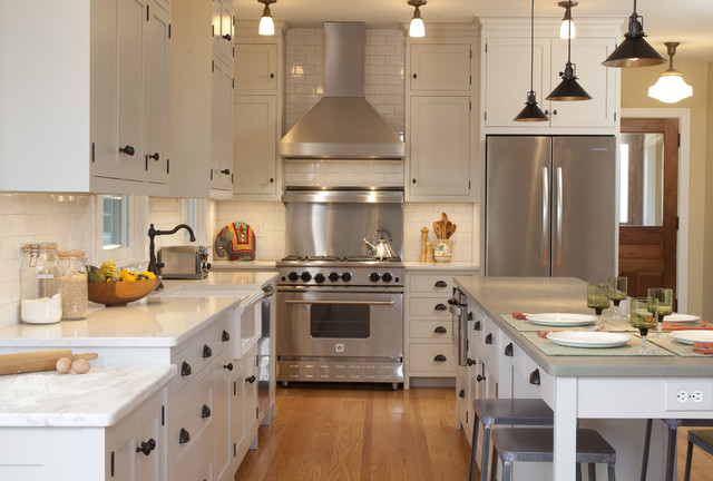 Kitchen Traditional Idea In New York With A Farmhouse Sink And Stainless Steel Liances