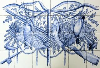 """Trophy Sport Fishing & Hunting"" Azulejo Blue & White Backsplash Tile Mural - other metro - by ..."