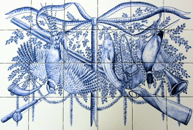 Trophy sport fishing hunting azulejo blue white for Delft tile mural