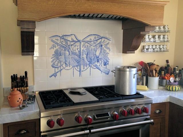 Trophy Sport Fishing Hunting Azulejo Delft Blue Backsplash Tile Mural Traditional Kitchen