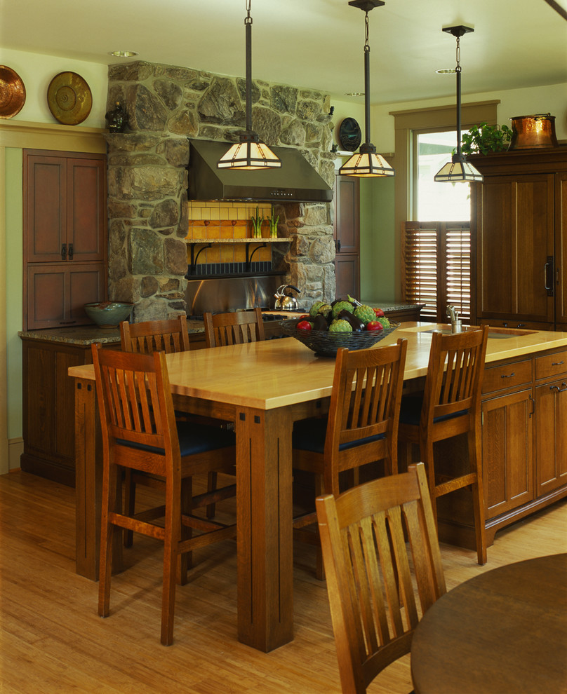 Arts and crafts eat-in kitchen photo in DC Metro with medium tone wood cabinets and wood countertops