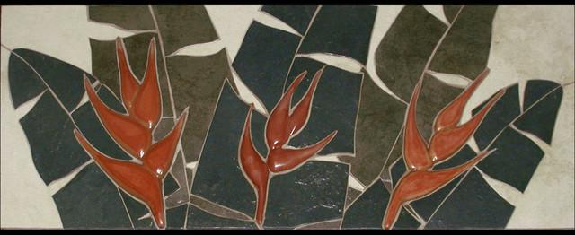 Tropical Cut Stone 3D Tile Murals tropical-kitchen