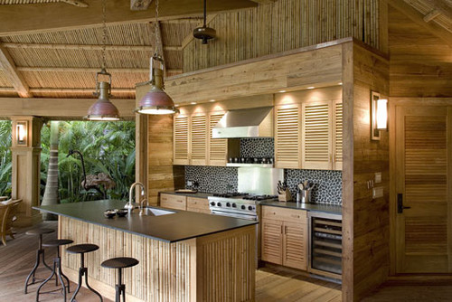 Where do you purchase bamboo for ceiling and who can install - Tropical kitchen design ...