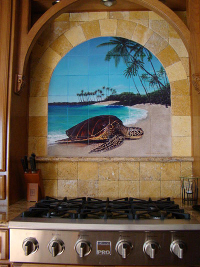 Tropical Kitchen Tile Mural & Arched Niche tropical-kitchen