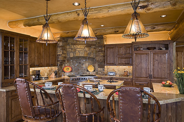 Tucker Ranch Custom Log Home traditional kitchen