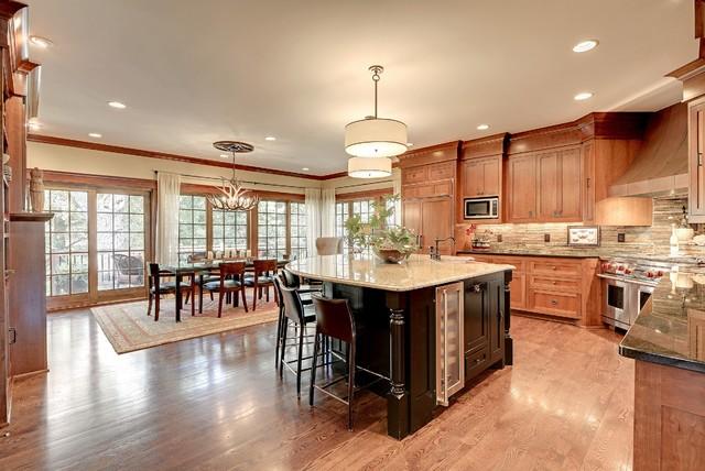 tudor revival great room kitchen area craftsman