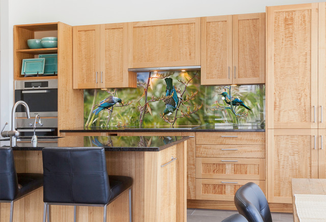 Tui Portrait printed image on glass kitchen splashback tropical-kitchen