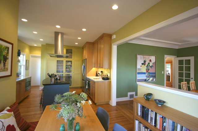 Inspiration for a medium tone wood floor kitchen remodel in San Francisco with light wood cabinets