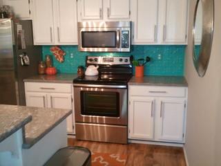 turquoise backsplash contemporary kitchen san diego