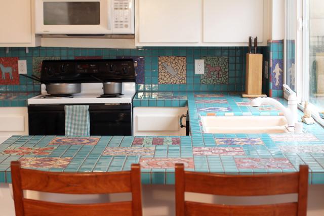 Turquoise Mosaic Kitchen - Eclectic - Kitchen - orange ...