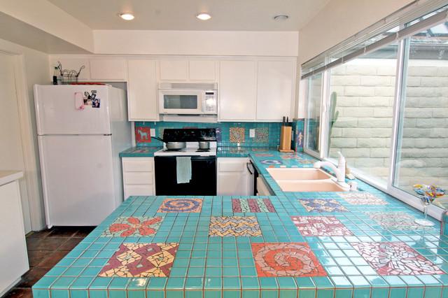 Turquoise mosaic kitchen southwestern kitchen orange - Turquoise and orange kitchen ...
