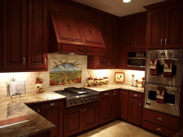 Tuscan Inspired Tile Mural Mediterranean Kitchen