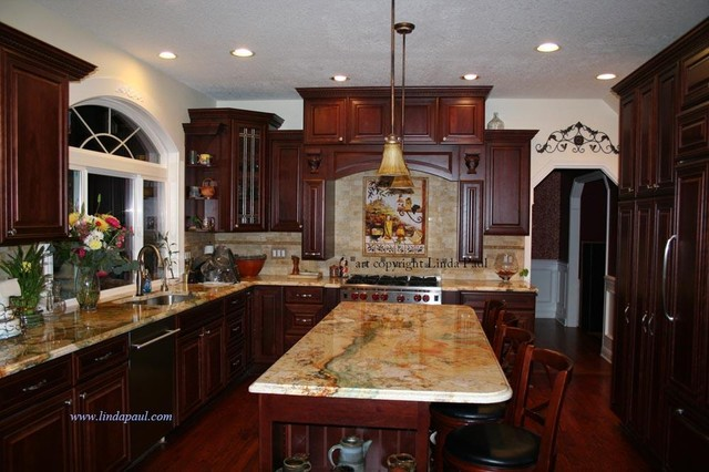Tuscan Kitchen backsplash with Cherry Cabinets and rare Granite ...