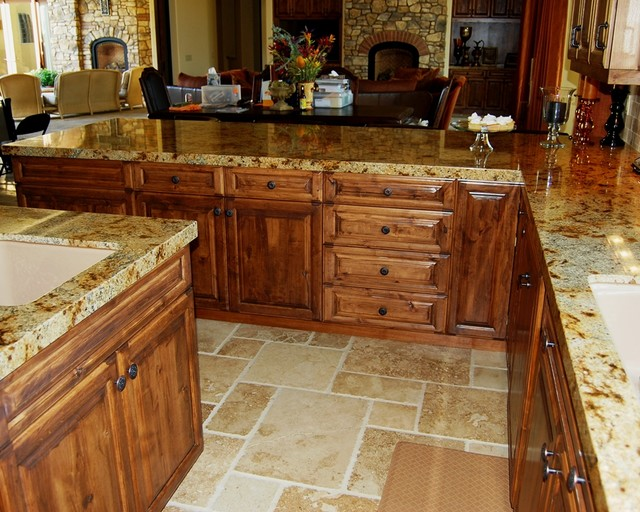 Tuscan Kitchen Peninsula With Counter Seating Mediterranean Los Angeles By Cedar Hill Cabinets