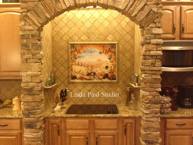 tuscan kitchen tile murals mediterranean kitchen other metro