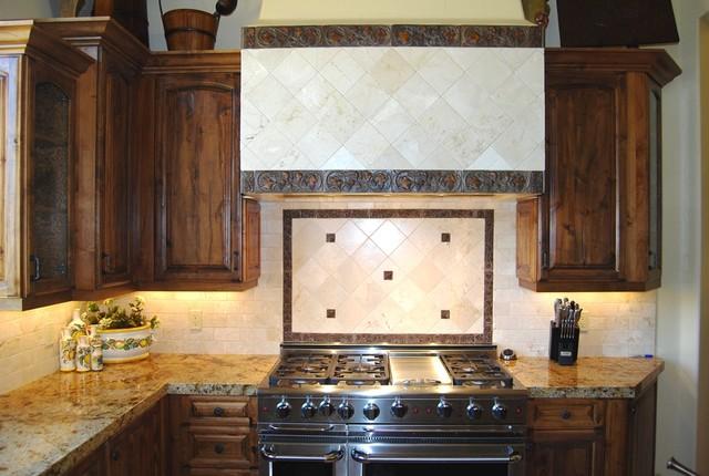 Tuscan Kitchen With Marble Tile Backsplash Distressed Knotty Alder