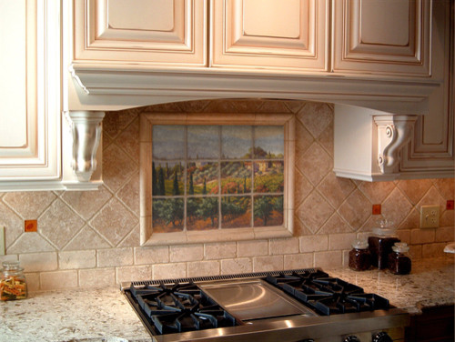 Tuscan marble tile mural in italian kitchen backsplash Italian marble backsplash